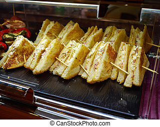 Tray with Mini Bite size sandwich appetizers