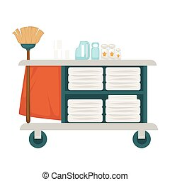 Tray with mop, chemical cleaners and fresh towels