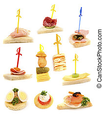 Tray with ready-to-eat fresh sandwiches over white ...