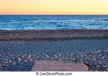 trayectoria, a, el, playa