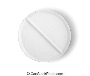 trayectoria, aislado, tableta, aspirina