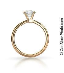 trayectoria, anillo, diamante, recorte