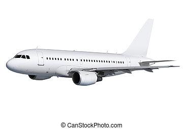 trayectoria, avión, blanco