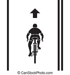 trayectoria, bicicleta, señal
