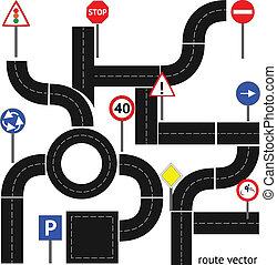 trayectoria, con, señales carretera