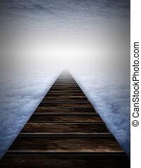 trayectoria, en, nubes