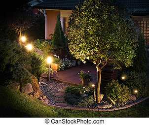 trayectoria, iluminado, patio, jardín