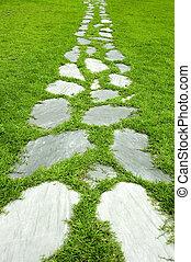 trayectoria, jardín de piedra