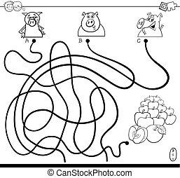 trayectoria, laberinto, con, cerdos, y, manzanas, color,...