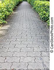 trayectoria, piedra, parque