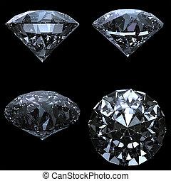 trayectoria, recorte, conjunto, 4, diamantes