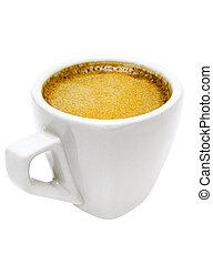 trayectoria, recorte, espresso, taza blanca