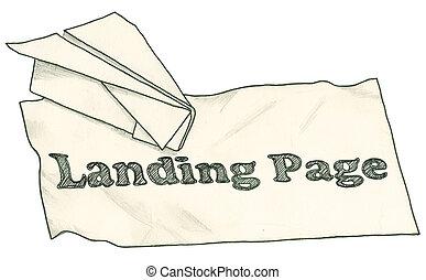 trayectoria, recorte, página, aterrizaje