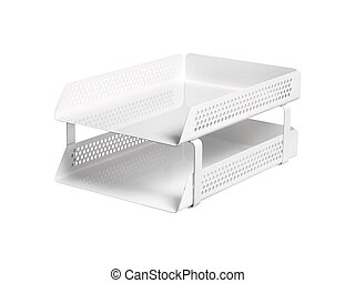 trays for papers on white background