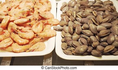 Trays with fresh seafood stock footage video - Trays with...
