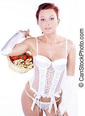 traz, mulher, langerie, fruta, excitado