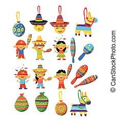 trditional, messicano, elementi, fiesta, collezione