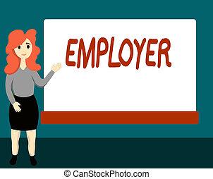treść, pojęcie, demonstrowanie, tekst, pokaz, okres, employer., zastosowani, czas, organizacja, pismo, albo