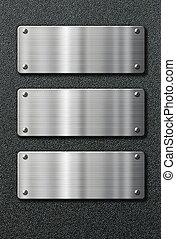 tre, acciaio inossidabile, metallo, piastre, su, sfondo nero