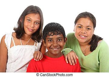 tre, adolescente, amici
