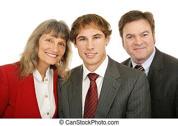 tre, affärsfolk