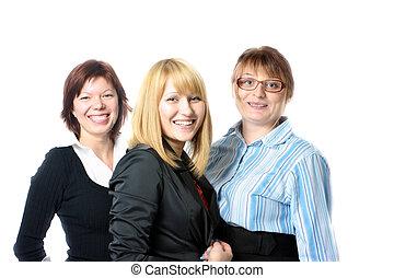 tre, affärskvinnor
