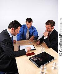 tre, affärsmän, hantering, negotiations., 1