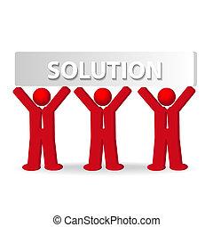 tre, affärsverksamhet herrar, arbete, in, lag, begrepp, av, lösning