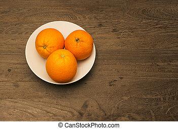 tre, arance, in, uno, bianco, porcellana, ciotola