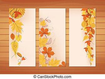 tre, autunno, bandiere, con, colorito