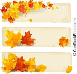 tre, autunno, bandiere, con, colorito, foglie, vettore