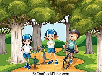 tre, bambini, bicicletta cavalca, parco