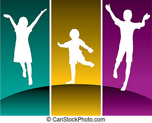 tre, bambini, saltare