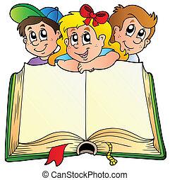 tre barn, med, öppnat, bok