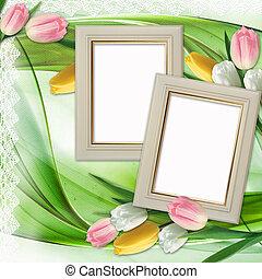tre, bild inramar, och, tulpaner, blomningen