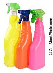 tre, bottiglie spruzzo