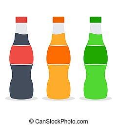 tre, bottiglie, tarre, soda, plastica
