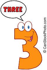 tre, carattere, cartone animato, numero