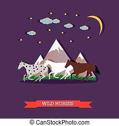 tre, cavalli selvaggi, galoppo, attraverso, il, montagne