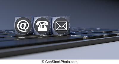 tre, cubi, con, segni, per, email, telefono, e, lettera
