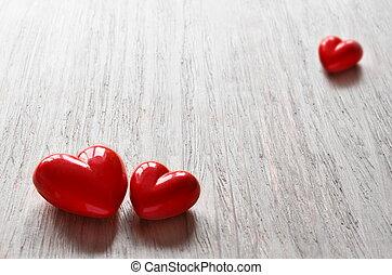 tre, cuori caramella, per, valentine, day.