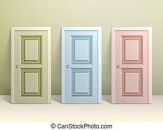 tre, dörrar, golv