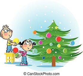 tre, decoreren, kerstmis, kinderen