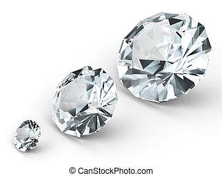 tre, differente, diamanti, bianco, fondo