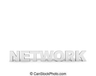 tre dimensionale, vista, di, rete, testo
