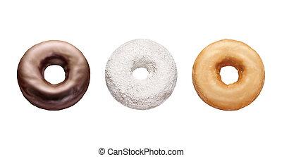 tre, donuts, isolato, bianco