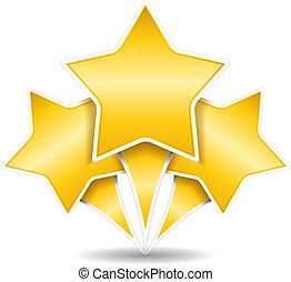 tre, dorato, stelle