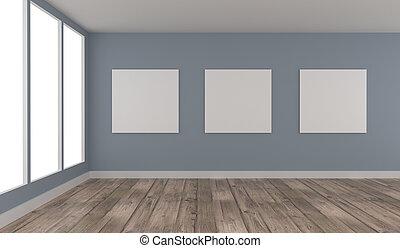 tre, driva med, uppe, affisch, in, a, blå, rum