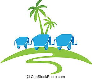 tre, elefanter, med, handflator, logo
