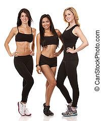 tre, fitness, kvinnor